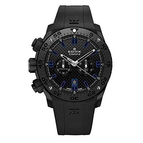 Edox Men's Class 1 Limited Edition Ice Man III 45mm Silicone Band IP Steel Case Quartz Watch 10306 37N GIR