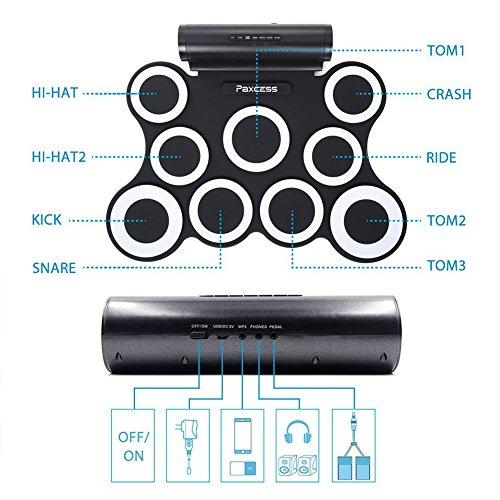 Set batteria elettronica pieghevole Yoome 9-Pad, batteria elettrica avvolgicavo Drum Kit MIDI con jack per cuffia, batteria incorporata e altoparlante per bambini Avviatori di batteria - rossa Rosso