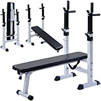 Costway Adjustable Folding Bench Sit up Barbell Multi Weight Dip Station Lifting Chest Press Gym