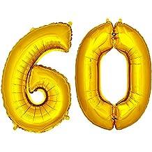 DEKOREX® Globo de la hoja 120cm Balón de Helio Número de oro brillante Decoración del globo del cumpleaños No60