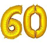 DekoRex® Folienballon Zahlenballon Heliumballon Luftballon Geburtstag Deko 100cm Zahl Gold 60
