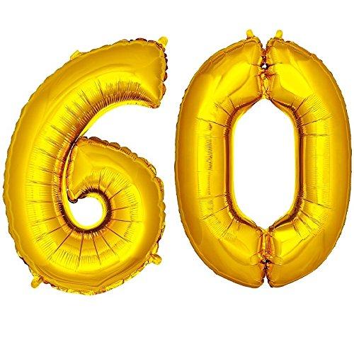 DekoRex número Globo decoración cumpleaños Brillante para Aire y Helio en Oro 120cm de Alto No. 60