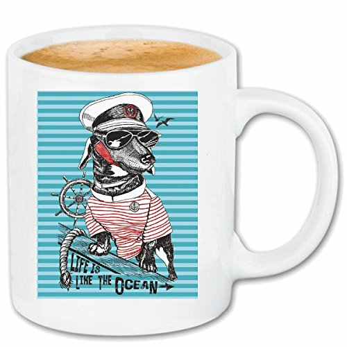 Reifen-Markt Kaffeetasse DACKEL ALS KAPITÄN Anker Skull Pirat SEGELBOOT Segelschiff Steuerrad...