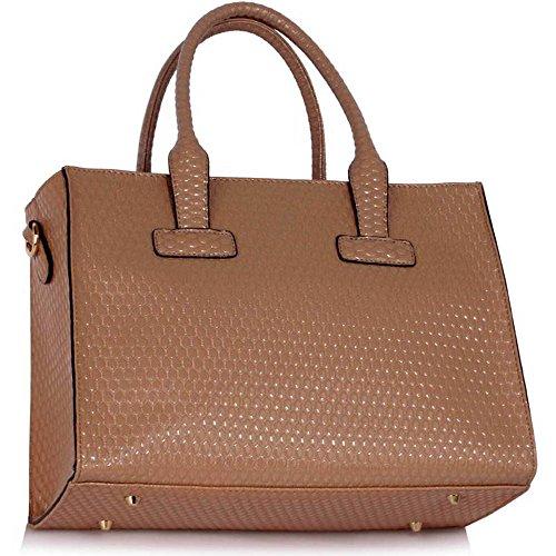 TrendStar Damen Handtasche stilvolle faux Leder Damen Entwerfer Schnalle Schultertasche Nude Handtasche