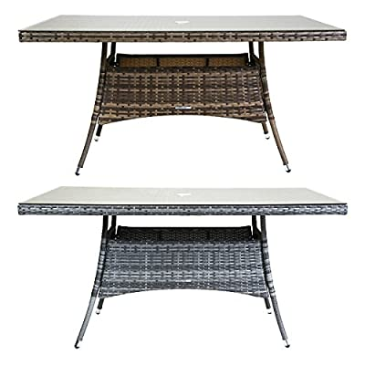 Charles Bentley Rectangular Verona Rattan Dining Table Glass Tabletop Patio Conservatory Outdoor Garden Furniture - Available In Brown Or Grey - cheap UK light store.