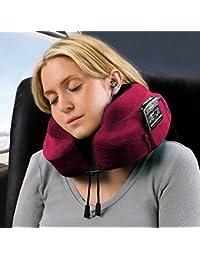 Oreiller de voyage Cabeau Evolution en mousse à mémoire - Le meilleur oreiller pour cou avec support de tête et du cou à 360° rouge Crimson