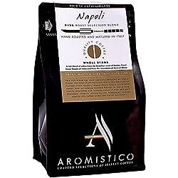 AROMISTICO | Rich Dark Roast | Italienische Premium-geröstete ganze KAFFEEBOHNEN | NAPOLI BLEND | For Espresso, Moka, Filter, Cafetiere, Pour-Over Drip, Aeropress | SMOKY, MALTY & DARK CHOCOLATE-Like