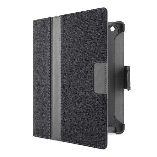 Belkin F5L097BTWHT PU Stripe Kunstveloursleder Folio (Standfunktion,magnet, Auto-wake Funktion, geeignet für iPad 1/2/4 3rd Generation) schwarz/grau