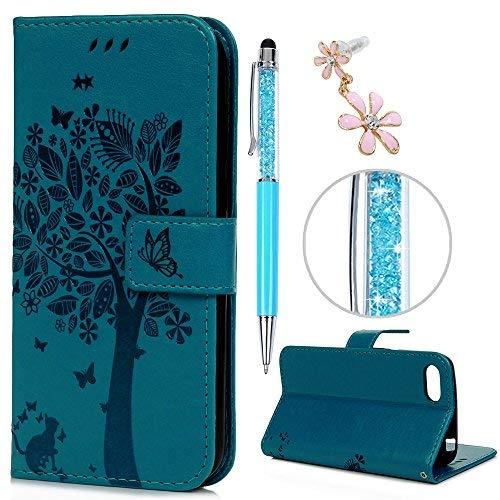 iAdvantec Huawei Y5 2018 Hülle Case, Filp PU Leder Wallet Handyhülle Flipcase : Bookstyle Großer Baum Tasche Brieftasche Schutzhülle in Blau + Anti Staub Stöpsel + Stylus