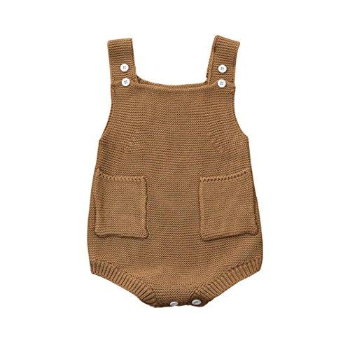 IGEMY Igemy Overall Kleider Romper Outfit Neugeboren Baby Mädchen Solid gestrickte Kleinkind Tasche (100, Beige)