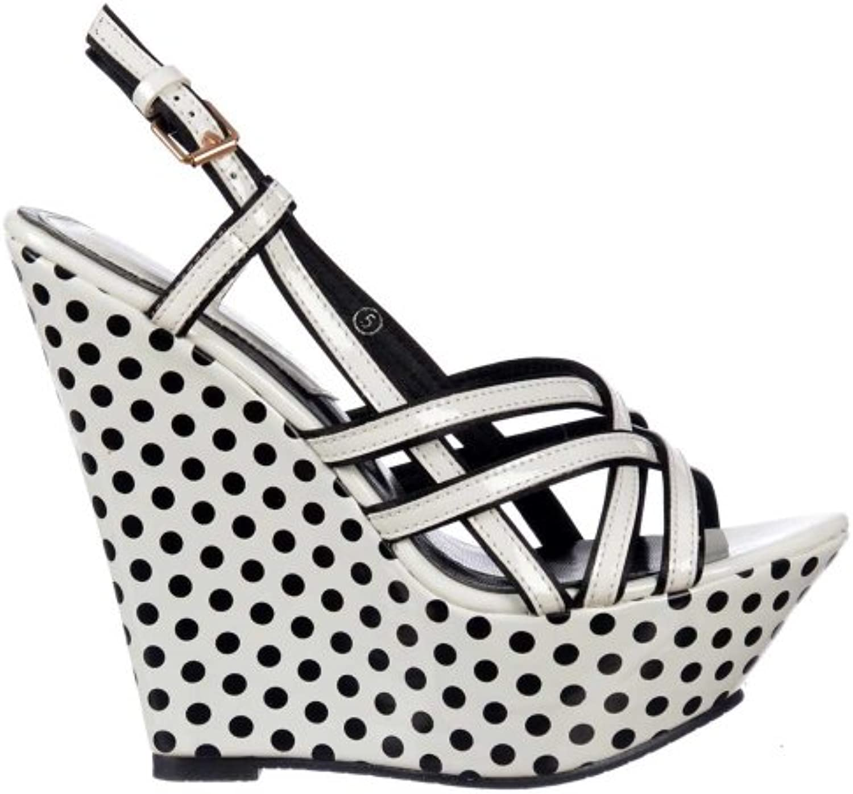 Ladies Dolcis Strappy Sommer Wedge Plattformen - Black and White Polka Dot