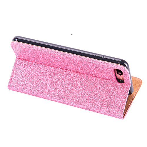 Bling Bling Wallet Case pour iPhone 7 Plus / iPhone 8 Plus Coque, Sunroyal 3D Diamant Strass Étui en PU Cuir Wallet Cas Portefeuille Universelle Flip Bookstyle Support rotatif 360° Back Cover avec Dia Lace Rose
