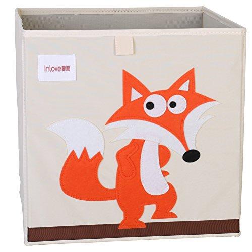 Cartoon Aufbewahrungswürfel Leinwand faltbare Spielzeug Aufbewahrungsbox für Kinder von ELLEMOI (Fuchs) (Leinwand Baby)