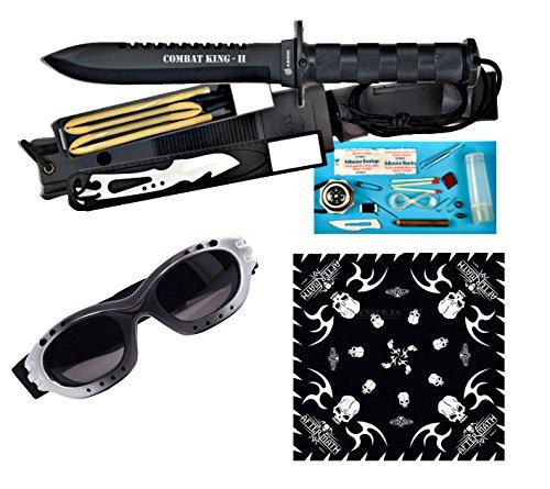 Cuchillo de supervivencia Combat King ll. Hoja negra acero inox. de 16cm + completo kit de accesorios