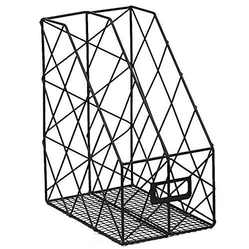 MOOUK Eisen-Desktop-Rack,Doppel- / Einzelgitter Eisen-Lagerregal Regalbox Organizer Metall-Zeitschriftenständer Aktenhalter Schreibtisch Ordentlich Bücherregal Ständer Desktop-Dateiverwaltung -
