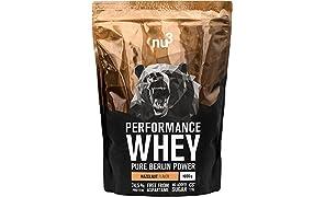 nu3 Performance Whey Protein | Hazelnut Blend | 1kg Proteinpulver | Voller Haselnuss-Geschmack | Eiweißpulver mit guter Löslichkeit bei hohem Proteingehalt