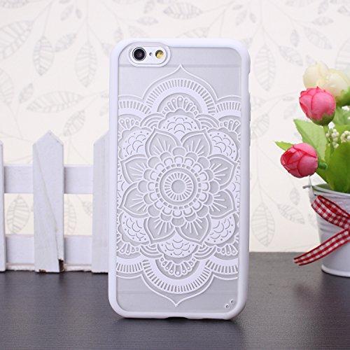 EKINHUI iPhone 5SE 5S Case; Sch¨¹tzende PC harte r¨¹ckseitige Abdeckung Fall mit Druckmuster + TPU Bumper f¨¹r iPhone 5SE, iPhone 5S (Ethnic Tribal Henna-Red) Mandala-White