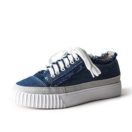 Heart&M Frauen-runde Zehe-flache Ferse-flache Unterseite Solid Color Lace-Up Casual Muffin Skate-athletische Schuh-Turnschuhe deep blue