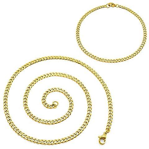 SoulCats® collier chaîne-maille + bracelet acier affiné oro SET, épaisseur:3 mm, choix:collier 55 cm + bracelet, couleur:oro