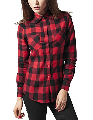 Urban Classics Ladies Checked Flanell Shirt, Chemisier Femme Multicolore (blk/red 44)