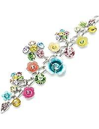 Glamorousky Blume Armband Mit Multi-Color- Austrian Elements -Kristallen Und Blumencharme (1127)