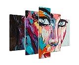 Bilderskulptur 5 teilig Breite 150cm x Höhe 100cm Buntes modernes Ölgemälde – Frau mit blauen Augen auf Leinwand exklusives Wandbild moderne Fotografie für ihre Wand in vielen Größen