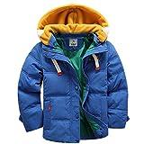 OMSLIFE Winterjacke für Kinder Jungen Mädchen Verdickte Daunenjacken Mantel Trenchcoat Outerwear mit Kapuzen (121cm-130cm, blau)
