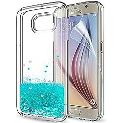 LeYi Coque Samsung Galaxy S6 Liquide Paillette Etui Film de Protection écran HD, Transparente Silicone TPU Slim Antichoc Bumper Brillante Coques Housse Telephone Samsung Galaxy S6 ZX Bleu Ciel
