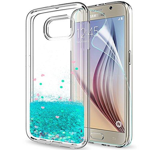 LeYi Hülle Galaxy S6 Glitzer Handyhülle mit HD Folie Schutzfolie,Cover TPU Bumper Silikon Flüssigkeit Treibsand Clear Schutzhülle für Case Samsung Galaxy S6 Handy Hüllen ZX Turquoise