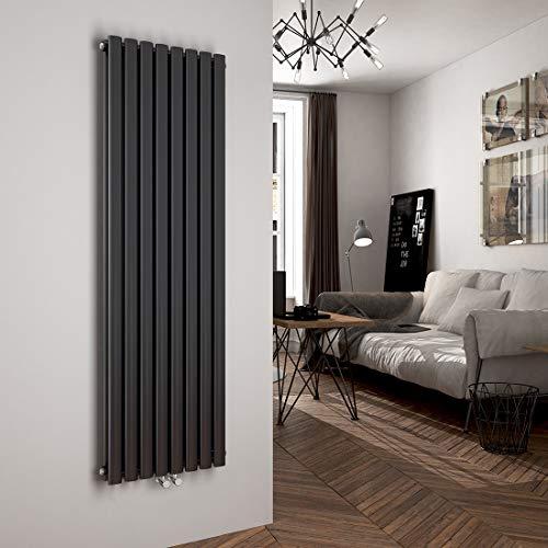 Flach-oval-design (Heizkörper Design-Heizkörper Ovale Form Antrazit Vertikal 1600x480mm Heizung 1629W Mittelanschluss Doppellagig)
