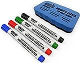 ANSIO - Juego de rotuladores para pizarra (borrado en seco, incluye borrador magnético)