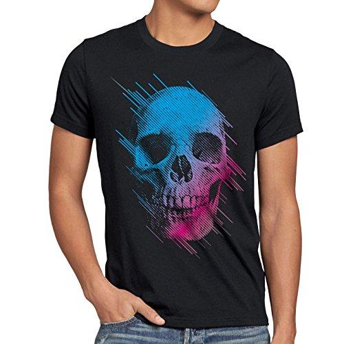 Shirt Herren Totenkopf Disco neon Festival, Farbe:Schwarz, Größe:5XL ()