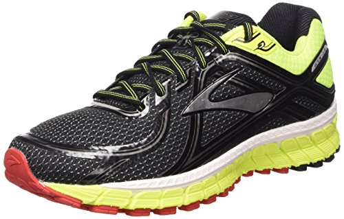Brooks Adrenaline Gts 16 M Scarpe da corsa, Uomo, Multicolore (Black/Nightlife/High Risk Red), 44