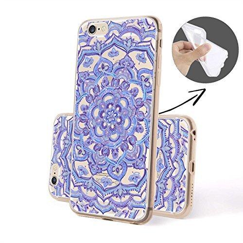 Finoo Handyhuelle Silicone Motivo 6 - Lavoro Disco rigido SILICONE, iPhone 6/6S Plus hennè Fiore silicone blu