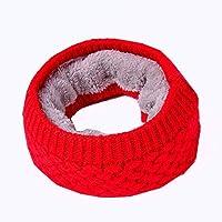 HYD Invierno cálido para Hombres y Mujeres Bufanda Babero Lana de Color Puro más Terciopelo Piel Gruesa de Punto Suave Bufanda Caliente 50 * 20 cm