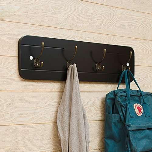 Porte-manteau mural Porte-manteau mural, porte-manteaux en bois massif, porte-manteaux suspendu à une chambre, étagère murale d'entrée simple Porte-manteau d'entrée (Couleur : Noir)