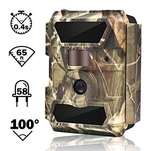 """WingHome Wildkamera Fotofalle Full HD 12MP 1080P Überwachungskamera No Glow 20M Nachtsichtkamera mit Bewegungsmelder mit 2.4\"""" LCD Display wasserdichte Jagdkamera weitwinkel für Sicherheitsüberwachung"""