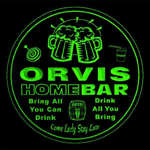 4x-ccq33475-g-orvis-family-name-home-bar-pub-beer-club-gift-3d-coasters