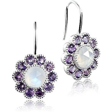 Dormith® 925 de plata 4.12 Quilates flores Natural Piedra de luna amatista piedra preciosa de la gota pendientes para las mujeres