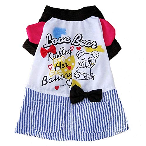 Hundekostüm Prinzessin, Streifen and Schmetterling Knoten Spitze Bestickt Hund Kleid für Hunde Pet Rock Kleidung Supplies,L (Mädchen Kleine Hund Bett)