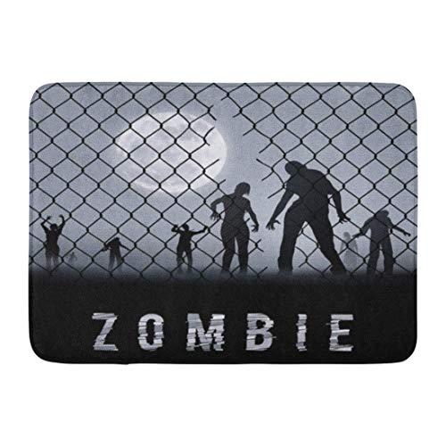 ath Rugs Outdoor/Indoor Door Mat Cell Zombie Walking at Night Silhouettes for Halloween Dead Arrest Bathroom Decor Rug 23.6 x 15.7 Inch ()