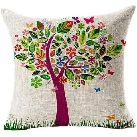 Bestyou Fundas de flores para almohada hechas en lino/algodón con estampado Vintage para cojín de sofá o almohada, diseño de Árbol Grande
