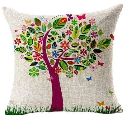 Bestyou Blumenkissenbezüge Leinen Baumwolle gedruckt Von Vintage Sofa-Kissen Kopfkissenbezug Großer Baum