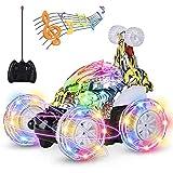 kiztoys Auto telecomandata, Doppia modalità, luci a LED per Auto da Corsa rotanti a 360 °, Cavo USB, Interruttore Musicale Co
