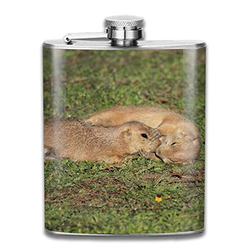 Stainless Steel Flask Hip Flask Set Plain Smooth Satin Polish Surface Kissing Rabbits Pocket Flask for Liquor Smooth Shot Glas