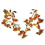 iBaste 1.8M Herbstgirlande mit 20 Lichtern herbstdekoration Herbst Blättergirlande Herbst Ahornblätter Lichterkette für Herbst und Thanksgiving
