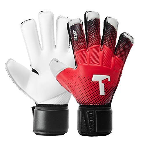 T1TAN Red Beast Junior Kinder Torwarthandschuhe + Soft Grip, Tormannhandschuhe Junior mit Innennaht für den Profi der Zukunft Gr. 4
