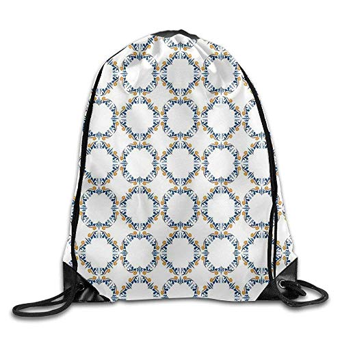 KAKICSA Unisex Gym Bag Bound Medieval Tiles Pattern Renaissance for Interior and Exterior Drawstring...