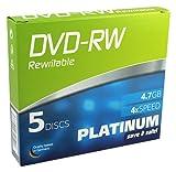 DVD-RW 4,7GB 4x PLATINUM Slim-Case 5er Pack