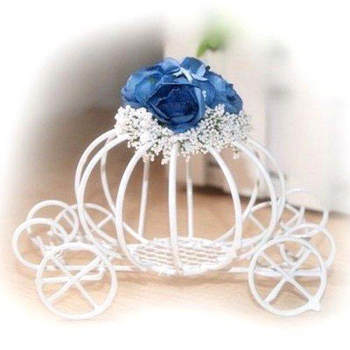 Au plaisir des yeux - Centre de Table Carrosse Cendrillon Fleur Bleu Marine